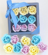 charming Rose Scent Bath Bomb, Nine Colourful Rose Flower with Pienmium Gift Box