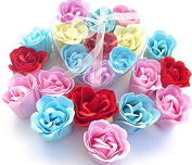 Christmas Rose Scent Bath Bomb, Nine Colourful Rose Flower with Heart Gift Box. Pink+yello+blue +Red, go4