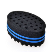 Generic New Oval Double Side Two in One Magic Twist Hair Sponge Afro Braid Style Coils Wave Hair Curl Sponge Brush Blue