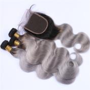 Tony Beauty Hair Silver Grey Ombre Brazilian Human Hair Wefts With Closure Body Wave Dark Roots 1B/Grey Ombre 4x4 Lace Closure With 3 Bundles 4Pcs Lot