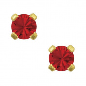 Studex Tiny Tips 3mm July / Ruby CZ Birthstone Gold Plated Childrens Hypo-allergenic Stud Earrings