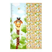 Susybee Zoe the Giraffe Growth Chart 70cm Panel Brown Fabric By The Yard