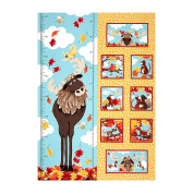 Susybee Bruce the Moose Growth Chart 70cm Panel Light Gold Fabric By The Yard