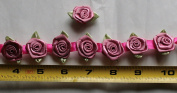 Fabric Satin Ribbon Rose Flower On The Ribbon String , 2.2cm Width For Each Flower, Sold by One Yard, Around 36 Flowers For One Yard
