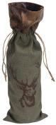 Canvas Wine Bottle Gift Bag with Deer Print