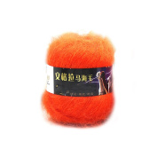 Hot Selling Mohair Yarn for Hand Knitting Wool Crochet Yarn to Knit Mink Wool Yarns Mohair Wool for Knitting : 04 Orange