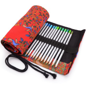 Minhe 72-coloured Pencil Roll-Up Canvas Pencil Wrap - Red Dress