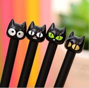 Fascola Cute Cartoon Kawaii Plastic Black Cat Gel pen for Kids Student Children Korean Stationery ,Pack of 4