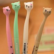 Fascola 0.5mm Cute Kawaii Plastic Cat Gel Pen Lovely Cartoon Pen For Kids Gift School Supplies ,Pack of 4