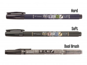Tombow Fudenosuke Brush Pen 3 Type Set, Hard (GCD-111), Soft (GCD-112), Dual Brush(GCD-121), + Original 5 Colours Sticky Notes