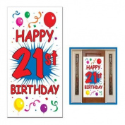 HAPPY 21st BIRTHDAY Party DOOR COVER Banner DECOR DECORATIONS 80cm x 150cm Twenty-first LOOK Who's 21 - TWENTY ONE Legal