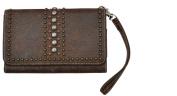 Brown Crackled Leather Wristlet and Smartphone Holder