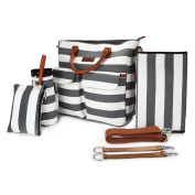5 in 1 Baby Nappy Bag Grey and White Stripe Cotton Canvas with Changing Pad, Milk Bottle Bag ,Handbag,2 Stroller Straps,Grey & White