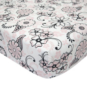 Lambs & Ivy Duchess Floral Fitted Crib Sheet - Pink/Black