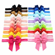 20 pcs Kids Accessories Elastic Bands Ribbon Bow Hairband Headwrap Cheerleading Bows Headbands for Baby Girls
