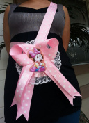 Baby Shower Mom To Be Minnie Mouse It's a Girl Sash Pink Polka Ribbon & Corsage