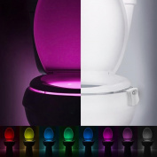 DZT1968 8 colour Body Sensing Automatic LED Motion Sensor Night Lamp Toilet Bowl Bathroom Light