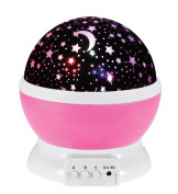LB 3 Modes LED Night Light Kid Bedroom Lamp 360 Degree Rotating Projection Light Romantic Light Cosmos Star Sky Moon for Kids Gifts
