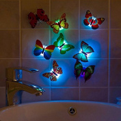 10 pcs Colourful Luminous Butterfly LED Night Light Home Wedding Decorative Lights Lamp Wall Stickers Children Small Gifts
