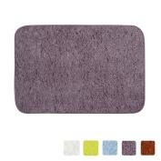 LOCHAS Bath Rug Shower Mat Anti-slip Super Soft Carpet Shaggy Comfortable Ideal for Bathroom, 60cm X 41cm , Grey-Purple