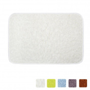 LOCHAS Bath Rug Shower Mat Anti-slip Super Soft Carpet Shaggy Comfortable Ideal for Bathroom, 60cm X 41cm , White