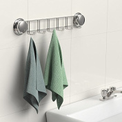 Garbath Suction Cup Towel Hook, Electroplated Six Hooks, Easy to Instal, 700003