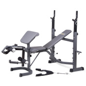Body Champ Olympic Weight Bench with Preacher Curl, Leg Developer and Crunch Handle, Dark Grey/Black