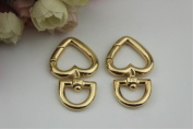 A pair/Set Quality Golden Metal Heart Shape Swivel Snap Hooks Strong and Durable For DIY Purse Strap Or Chains