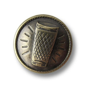 Button Paradise Sewing Buttons - Set of 3 Unique Metal Buttons - Hessian Ebbelwoi / Apfelwein Design, Ribbed Cider Glass - Colour