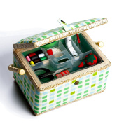 bbloop Medium Vintage Sewing Basket with Notions Package - Green Plaid Style