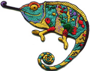 Chameleon lizard retro hippie boho 70s embroidered applique iron-on patch S-1310