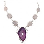 Jewel Fab Art Beautiful Quality Faceted Rainbow And Druzy Gemstone Necklace Handmadde Silver Plated Jewellery Necklace