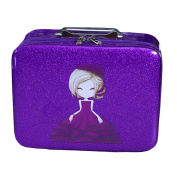 Cosmetics Case Makeup Train Case Cosmetics Organiser Beauty Case -Purple