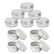 Healthcom 10 Pack 50ML Aluminium Metal Refillable Containers Screw Top Round Steel Tins Metal Steel Tin Flat Container