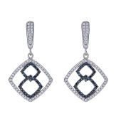 925 Sterling Silver Square Earrings, Black And White Cubic Zirconia Stones, For Women And Girls