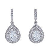 925 Sterling Silver Pear Shape Earrings, Cubic Zirconia Centre Surrounded With Czs, For Women & Girls