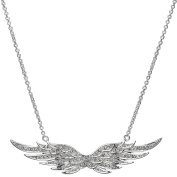 Silvertone and Pave CZ Angel Wing Charm Necklace