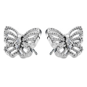 Silvertone and CZ Pave Butterfly Stud Earrings