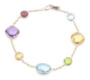 Multi-Colour Gemstone Bracelet ,14k Rose Gold 18cm Long