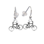 .925 Sterling Silver 3D Bicycle French Hook Style Earrings