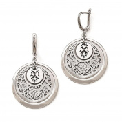 925 Sterling Silver Polished & Brushed Finish Floral Design Dangle Earrings by Leslie's