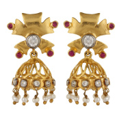 Dilan Jewels PURE Collection Pearls Gold Plated Jhumki Earrings For Women