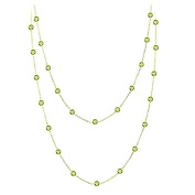 Peridot Round 90cm Necklace,14K Yellow Gold Lobster Lock