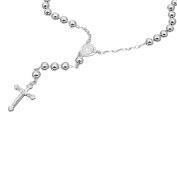 7mm Bead Cross Sterling Silver Rosary Necklace Available Length - 26, 30 Inches
