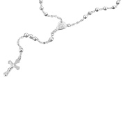 5mm Bead Cross Sterling Silver Rosary Necklace Available Length - 20, 22, 24, 26, 28, 30 Inches