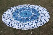 Indian Mandala Blue Feather Round Tapestry, Round Beach Throw, Mandala Throw, Picnic Blanket, Oversize Towel, Ethnic Decor Yoga Mat 180cm
