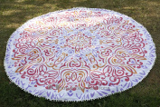 Indian Round Roundie Picnic Beach Tapestry, Hippie Gypsy Cotton Table Cloth, Ombre Mandala Roundie, Towel Yoga Mat Decor Throw 180cm