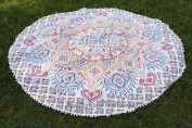 Ombre Mandala Tapestry Round, Tapestry Roundie, Indian Mandala Gypsy Cotton Beach Towel, Oversize Towel, Table Cloth 180cm