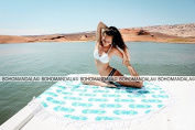 Exclusive Bohomandala Indian Mandala Round Roundie Beach Throw Tapestry Hippy Boho Gypsy Cotton Tablecloth , Round Yoga Mat Tassel Fringing