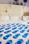 Bohomandala Indian Mandala Round Roundie Beach Throw Tapestry Hippy Boho Gypsy Cotton Tablecloth Beach Towel Round Yoga Mat - Pineapple Design Blue